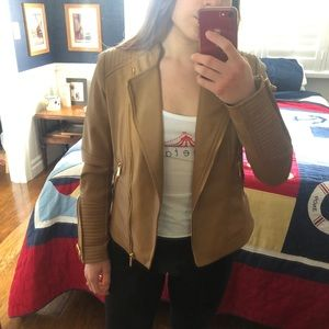 tan leather jacket!